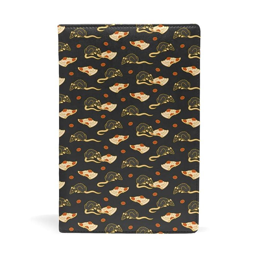 トーク炭素ペレットネズミとピザ ブックカバー 文庫 a5 皮革 おしゃれ 文庫本カバー 資料 収納入れ オフィス用品 読書 雑貨 プレゼント耐久性に優れ