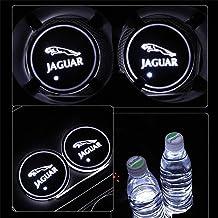 Juego de 2 Soportes para Copa de Coche con Luces LED, 7 Colores cambiantes, Cargador USB, diseño de Coche (Jaguar)