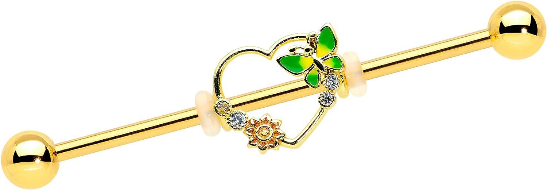 Body Candy Women 14G PVD Steel Helix Cartilage Earring Clear Accent Open Heart Sun Industrial Barbell 1 1/2