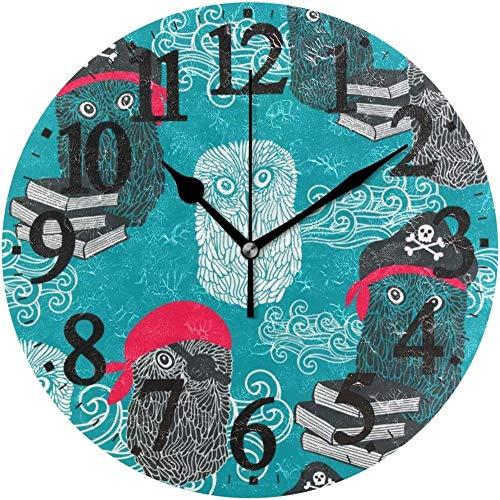 SXXXIT Reloj de Pared, Reloj de Pared Redondo, Bonito Dibujo Animado de búhos, Piratas, bucanero, Reloj de decoración para el hogar Vintage