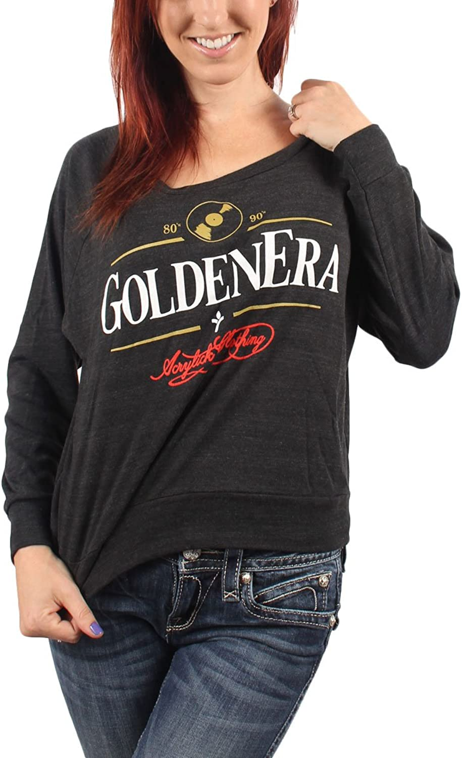 Acrylick - Golden Era Damen Raglan Sweater in Tri-schwarz