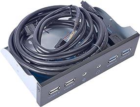 UCEC Panel Frontal USB 3.0, Panel Hub Metal de 5.23 Pulgadas, con 2 Puertos USB 3.0 y 2 Puertos 2.0 HD de Audio