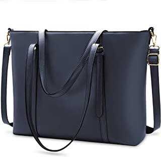 Women Laptop Bag Lightweight Leather Work Tote Business Office Computer Bag 15.6 Inch Laptop