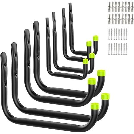 Housolution Ensemble de Crochets pour Garage, 8 Pièces / 4 Tailles, Crochets Utilitaires en Vrac, Rangement Cintres de Jardin Support Mural Berceau avec Vis et Ancrages 8PCS - Noir & Vert Mat