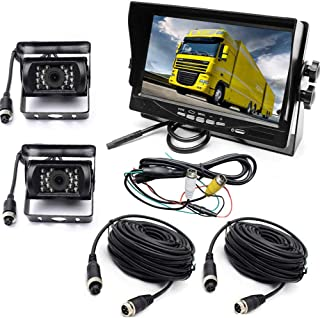 Vanxse 7 LCD Monitor 2CH 4-Pin Aviation Video Input DC 12V 24V Vehicle Backup Camera System 2 x Rear View Camera 2X15Meters Cable for Bus Truck Boat Security Surveillance System