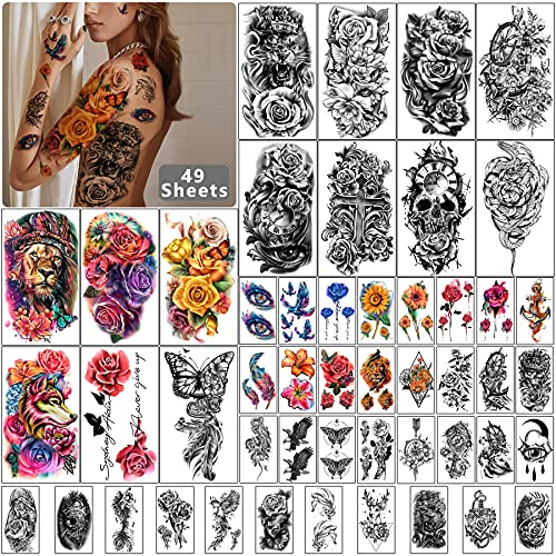 Yazhiji 49 sheets Large Flowers Skull Waterproof Temporary Tattoos for Women and Girls, Realistic Tiger Wolf Bird Temporary Fake Tattoo for Kids or Adults