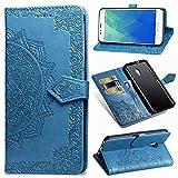 Ycloud PU Leder Tasche für Meizu M5S Kunstleder Wallet Flip Case mit Standfunktion Kartenfächer Entwurf Mandala Prägen Blau Hülle für Meizu M5S