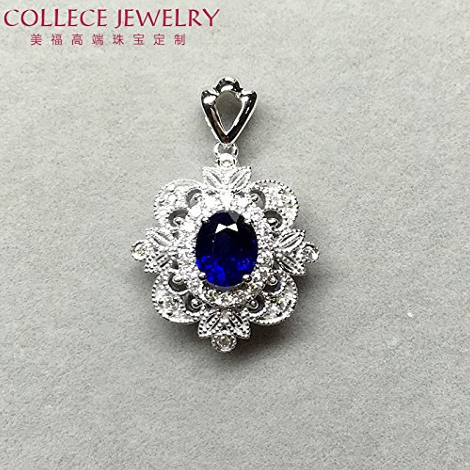 US-fu Jewelry 18k White gold Diamond Necklace Pendant Set with Sapphires Inlaid Jewelry Processing