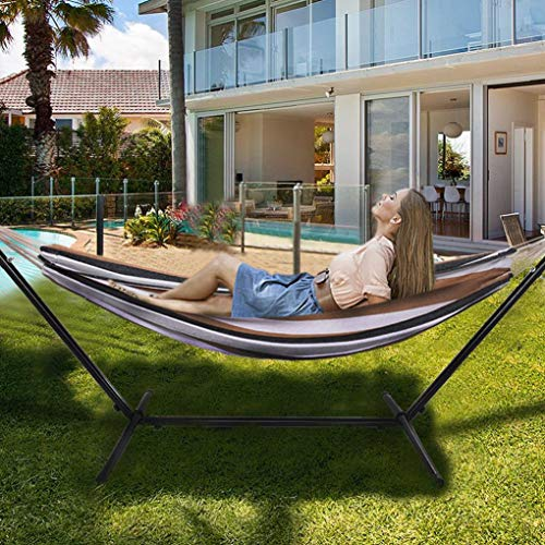Patio Yard and Beach Outdoor Double Cotton Hammock with Space Saving Steel Stand Up to 450 pounds Includes Portable Carrying Case