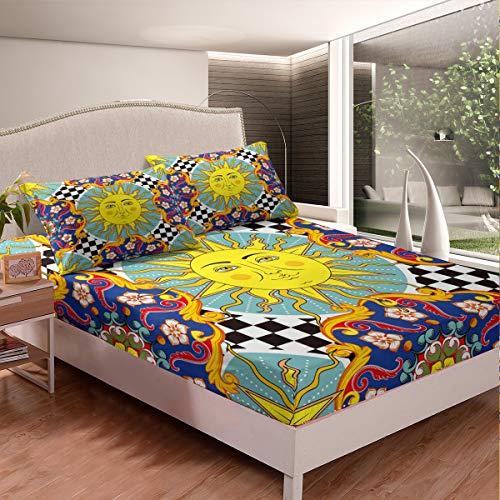 Juego de sábanas tribales para cama de sol y luna, para niños, niñas, bohemio, mandala floral, juego de cama bohemio, exótico, colección de 2 piezas de tamaño individual