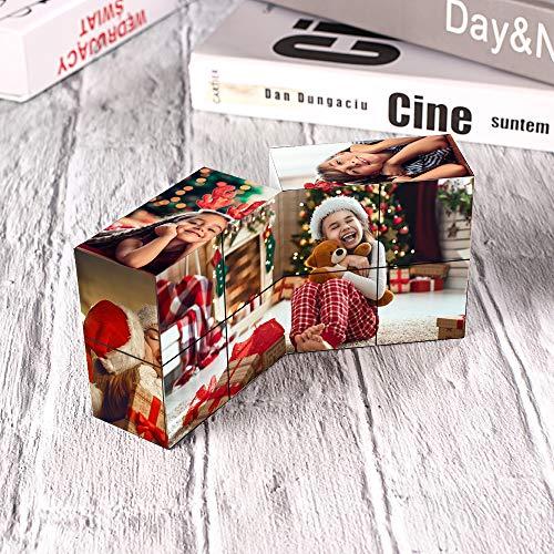 VEELU Fotos Personalizados Cubo de Rompecabezas del Cubo de Rubik, Fotos Claras de Pareja, Regalos para Hijos, Hijas y Novias