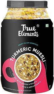 True Elements Turmeric Muesli 1kg - with 70% Wheat, Rolled Oats, Jowar, Barley, Quinoa & Bajra, Healthy Breakfast, Millet ...
