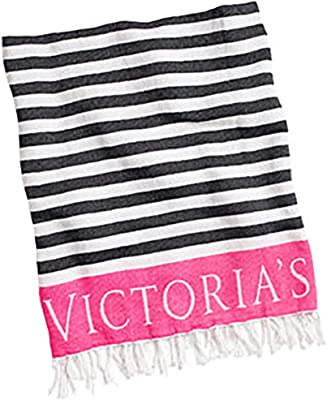 VICTORIAS SECRET Beach Blanket -Black Stripe/ Pink