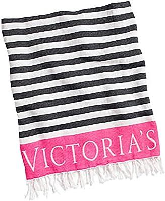 VICTORIAS SECRET Beach Blanket -Black Stripe/ Pink