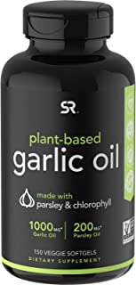 Sports Research Plant Based Garlic Oil with Parsley Chlorophyll - 150 Veggie Softgels