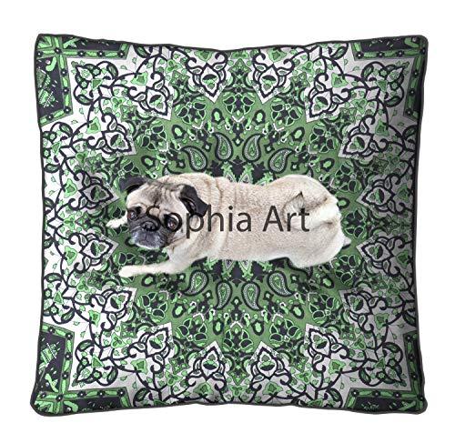 Sophia Art Indian Green Star Daybed Big Seating Peacock Mandala Floor Pillow Cover Pouf Cushion Case Bohemian Ottoman Meditation Throw Large