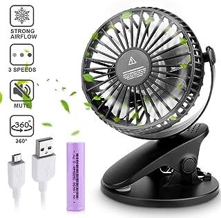 Sporgo USB Ventilator, Tragbar Clip Mini USB Ventilator Leise,3 Geschwindigkeiten,360° Einstellbarer,2800mAh Wiederaufladbare Batterie,Leise Tischventilatoren Klein für Schlafzimmer Büro Kinderwagen