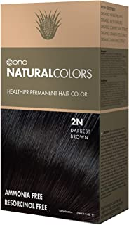 ONC NATURALCOLORS 2N Darkest Brown Healthier Permanent Hair Color Dye 4 fl. oz. (120 mL) with Certified Organic Ingredients, Ammonia-free, Resorcinol-free, Paraben-free, Low pH, Salon Quality, Easy to