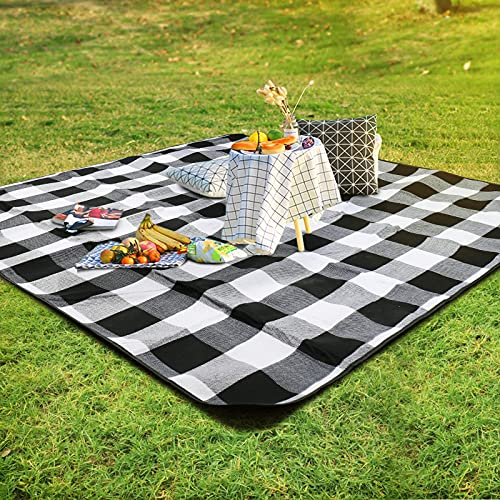 SKYSPER Picnic Blanket Large Picnic Rug Waterproof Backing Outdoor Carpet Mat Foldable Camping Tote Light Compact Oversized Rug with Table Cover Carry Bag