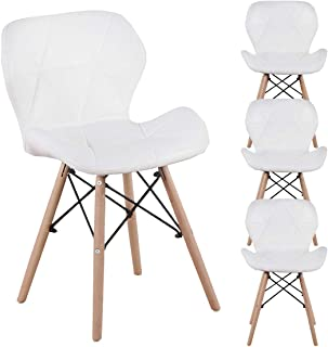 Juego de 4 sillas de comedor de N A a MUEBLES HOME de mediados de siglo retro de cocina moderna tapizadas de piel sintética con respaldo curvado para comedor o cocina