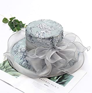SHENTIANWEI Xiaou Organza hat Female Beach hat Korean Fashion caps Embroidered Flowers Large Brimmed Sun hat Sun Vacation Travel (Color : Grey, Size : Adjustable)