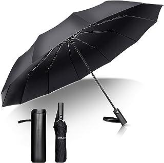 折りたたみ傘 ワンタッチ 自動開閉 頑丈な12本骨 メンズ 103cm超大サイズ 大きい 210T高強度グラスファイバー 超撥水 晴雨兼用 台風対応 風に強い 梅雨対策 おりたたみ傘 収納ポーチ付き 携帯便利