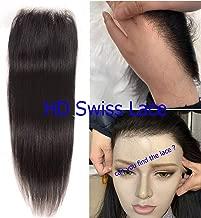 Brazilian Remy Human Straight HD Lace Closure High Definition Swiss Lace 4
