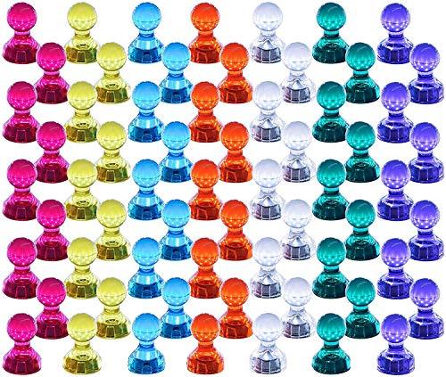 80 magneti colorati e trasparenti, 11 x 17 mm, 8 colori, perfetti per lavagne, frigoriferi, ecc.