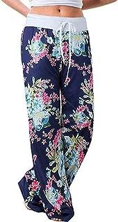 ◆◇ HebeTop◇◆ Women's Comfy Casual Pajama Pants Floral Print Drawstring Palazzo Lounge Pants Wide Leg