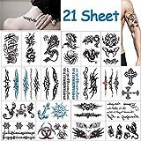 Vibury Temporär Tätowierung, 21 Blätter Tattoo Aufkleber Fake Arm Tattoos Sticker für männer...