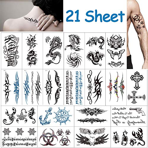 tatuaggi temporanei per adulti, Vibury 21 Fogli Tattoo Sticker per adulti uomo donna bambini- Tiger Dragon Scorpion Crane Graphic