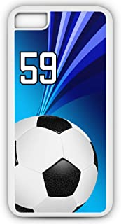 iPhone 8 Plus 8+ Phone Case Soccer SC006Z by TYD Designs in White Rubber Choose Your Own Or Player Jersey Number 59