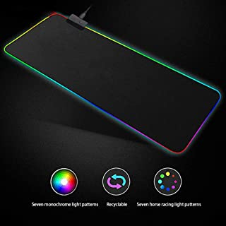 Soft Gaming Mouse Pad Large, Oversized Glowing Led Extended Mousepad,Non-Slip Rubber Base Computer Keyboard Pad Mat,31.5 X...