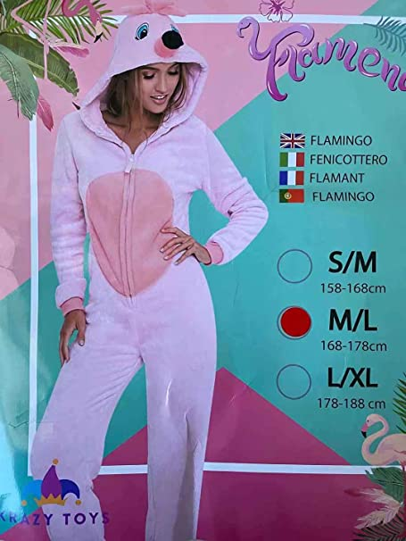 KRAZY TOYS Pijama Animal Entero Unisex para Adultos como Ropa de Dormir-Traje de Disfraz para Festival de Carnaval (Flamenco, M/L)