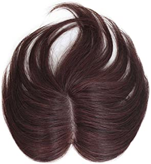 Remeehi Real Human Hair Topper Clip in Hair Top Piece For Women Straight Toupee Wig Hand Made 6 * 4cm, 18CM Brown