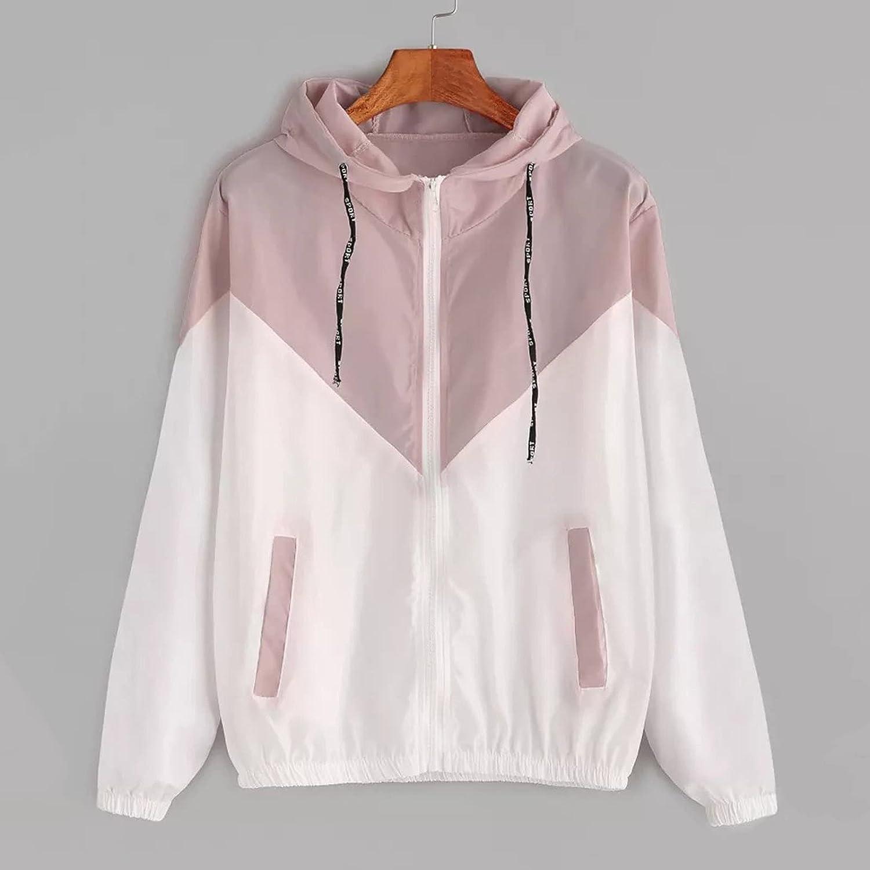 Women Color Block Drawstring Hooded Sports Jacket Zip Up Windproof Windbreaker with Pocket Lightweight Sweatshirts