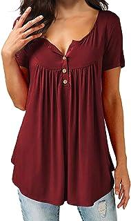 AMCLOS Womens Tops V Neck T-Shirts Swing Ruffle Blouses...