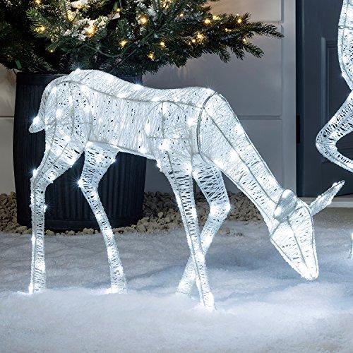 LED Glitzer Hirschkuh Reh Figur 56cm innen und außen Lights4fun