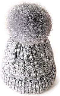 FADVES ニット帽 ニットキャップ ウール帽子 毛糸帽 レディース 冬 耳あて フェイクファー 可愛い ポンポン付き 厚手 ふわふわ 柔らかい 暖かい 防寒 保温 通学 通勤 スキー スノボ