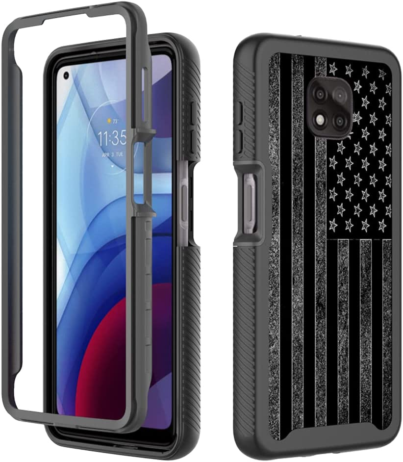 GMJzzx Case for Motorola Moto G Power,Vintage Retro American Flag Shockproof Dual Layers Full Body Cover,Soft TPU Bumper PC Armor Protective Cover for Moto G Power 2021(Cool USA Flag)