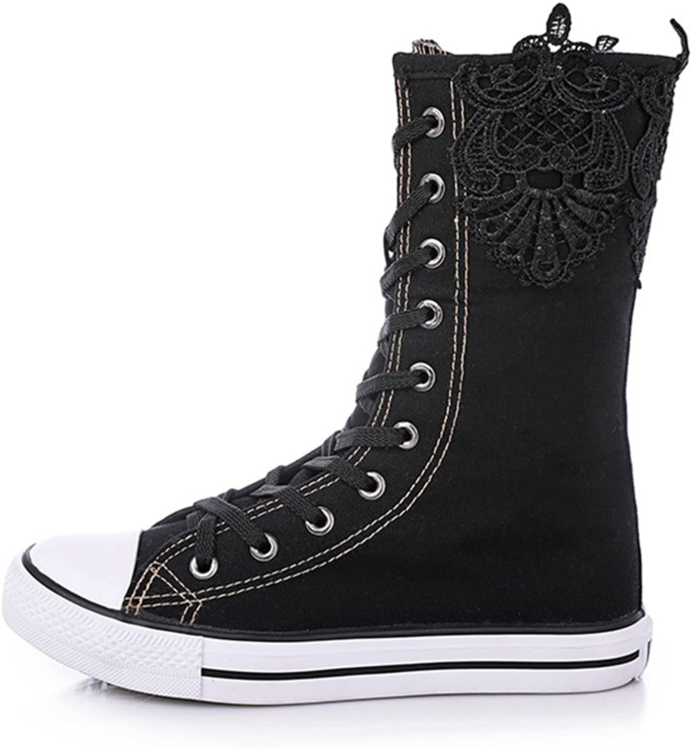 Super frist High Top Canvas Sneakers for Women Girls Lace Up High Boots