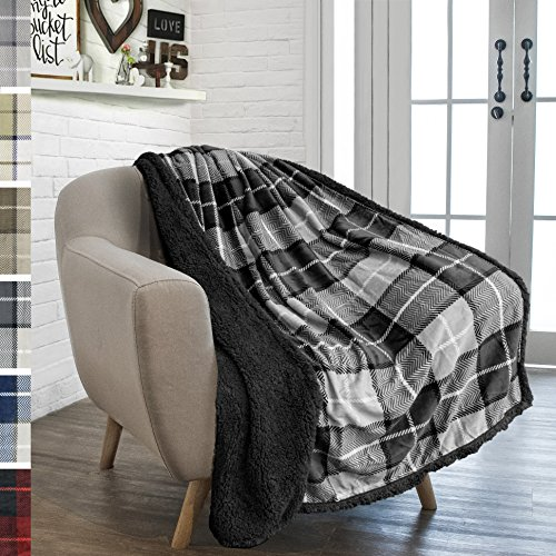 PAVILIA Premium Plaid Sherpa Fleece Throw Blanket | Super Soft, Cozy, Plush, Lightweight Microfiber, Reversible Throw for Couch, Sofa, Bed, All Season (50 X 60 Inches Charcoal Grey)