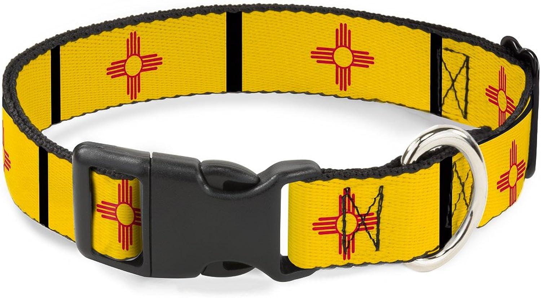 BuckleDown PCW31445NS Dog Collar Plastic Clip Buckle, 1 2 x69 , New Mexico Flag Black