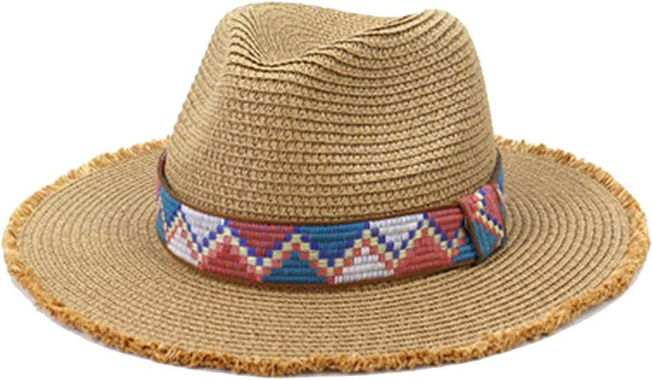 Limited time for free shipping HXHBD Ladies Beach hat Straw Hats Popular brand in the world Women Black Band Belt Khaki S