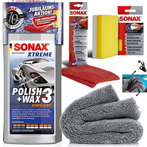 detailmate Handpolitur Set: SONAX Xtreme Polish + Wax 3, 500ml + Mikrofasertuch + Apllikationsschwamm + ultraflausch Poliertuch + Schutzhandschuhe