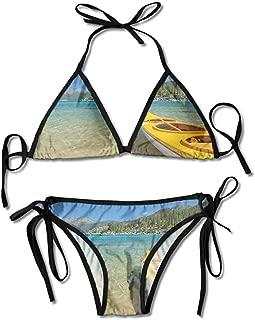 Padded Halter Bikini Set,Lakeside Places Scenic Activities Sexy Bikini 2 Pieces