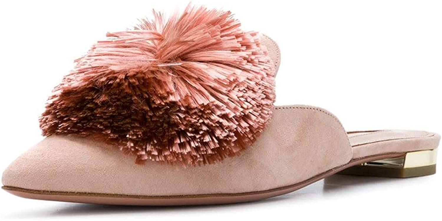 MAVIRS Suede Mules for Women, Women Pom Embellished Slipper shoes, Pointed Toe Backless Slip on Loafers bluesh Pink Size 6