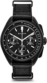 Bulova - Lunar Pilot - Reloj de cuarzo analógico para hombre con correa de piel 98A186