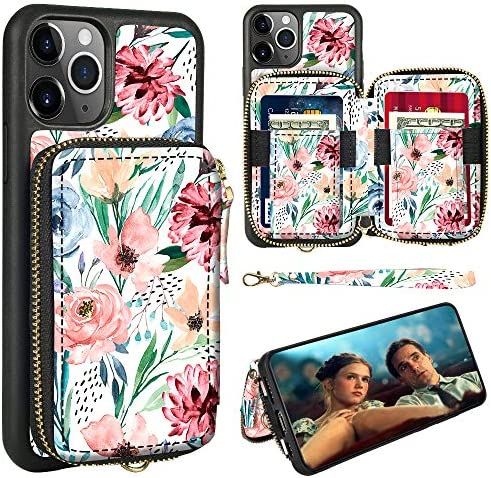 ZVE iPhone 12 Pro Max Floral Print Case with Zipper Card Holder Slot Wrist Strap Women Handbag product image