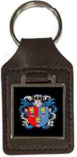 Bowles Family Crest Surname Coat Of Arms Brown Leather Keyring Engraved